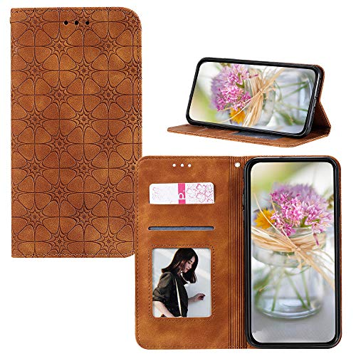 JZ [Embossed Lucky Flower Solid Color Wallet Flip Cover For para iPhone 6S Plus / 6 Plus Funda - Yellowish Brown