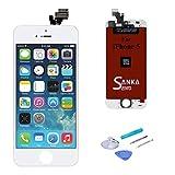 Sanka Ecran LCD pour iPhone 5, Retina Tactile Écran Vitre Display Digitizer Kit de Réparation Complet - Blanc (Free Outils...