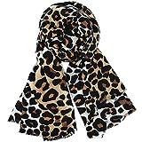 La Haute - Bufanda de piel de serpiente/leopardo con estampado de invierno cálido chal de cachemira, ligera, acogedora impresión de animales bufandas