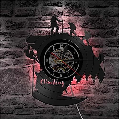 LTMJWTX Deportes de Aventura Extrema Mecedora Escalada Disco de Vinilo Reloj de Pared Escalada de montaña Reloj silencioso de Pared Regalo de Viajero Aventurero