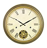 Bestime 18 inch Bronze Finish Modern Gear Metal Wall Clock, Metal Frame with 3D Moving Gears, Quartz Movement, Simple Style for Office, Home, Kitchen, Bar, Study, Living Room Decor. Quiet, Easy Read.