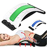 Lumbar Back Stretcher Spine Decompression Support Device for Lower Back Pain Relief and Massage,3-Gear Adjustment,Black Arch Board 2 Foams (Blue/Green)