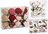 Brubaker Set di 12 Palline Natalizie ricoperte di Juta - Decorazione Naturale dell'albero di Natale in Color Rosso-Verde