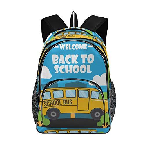 Bardic Shcool - Mochila de bienvenida al autobús escolar, duradera, bolsa de trabajo, ligera, resistente al agua, ideal como regalo para hombres y mujeres