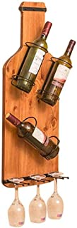 YJYJZ Wine Rack Wall Wine Rack Wall-Mounted Wooden Bottle Rack Family Kitchen Storage Shelf Bar Floating Rack Multi-Functional Decorative Display Shelf - Can Hold 3 Bottles (Brown) Hanging Acrylic
