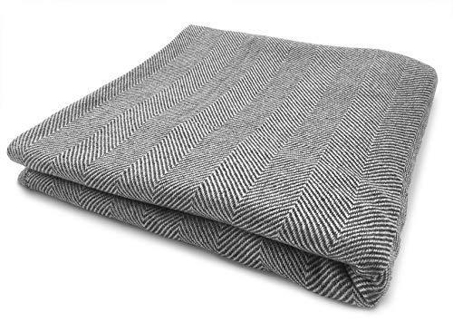 Youni Home Kaschmir Decke 135x270 cm für Couch Sofa Bett 100% Cashmere Exklusive Kuscheldecke aus Kashmir auch geeignet als Überwurf Tagesdecke Plaid Made in India Neues Modell (Grau)