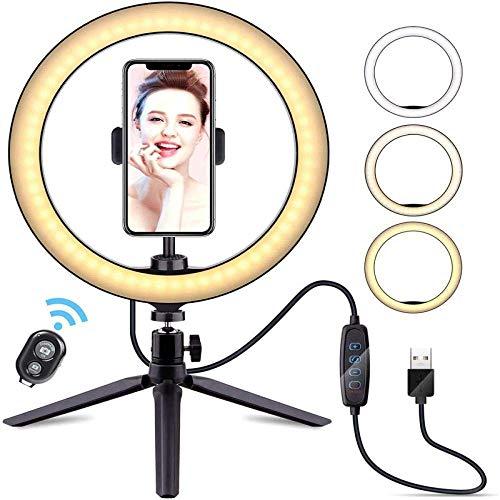 Anello di luce per selfie, 25,4 cm, con treppiedi e luce dimmerabile, per Youtube/Video/Live/Stream/Trucco/Fotografia 26cmarc+PTZ+staffa da desktop+Bluetoothremotecontrol