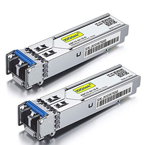 [2 Pack] 1G SFP LX Monomode Mini-Gbic Module, 1000Base-LX SFP LC Transceiver, Compatible pour Cisco GLC-LH-SMD, Meraki, Ubiquiti UF-SM-1G, Netgear, D-Link, TP-Link, Zyxel, Mikrotik, Open Switch