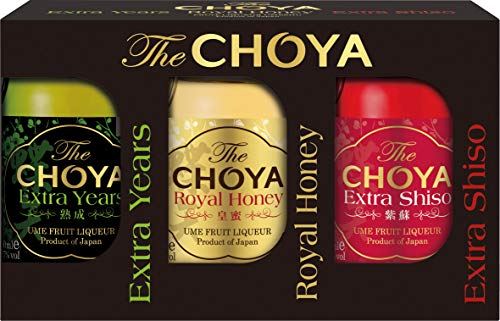 CHOYA Set mit premium Fruchtlikören mit 17% vol. aus Japan - Choya Extra Years, Choya Royal Honey und Choya Extra Shiso, (3 x 50 ml)