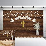 Avezano First Holy Communion Baptism Party Backdrop Rustic Wood God Bless Floral Background 7x5ft Vinyl Christening Marson Jar Flowers Baby Shower Decorations Backdrops