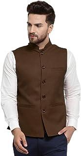 Treemoda Men's Synthetic Nehru Jacket Jute