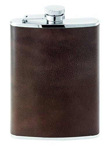 Herbertz zakfles, roestvrij staal, leer, 230 ml mes