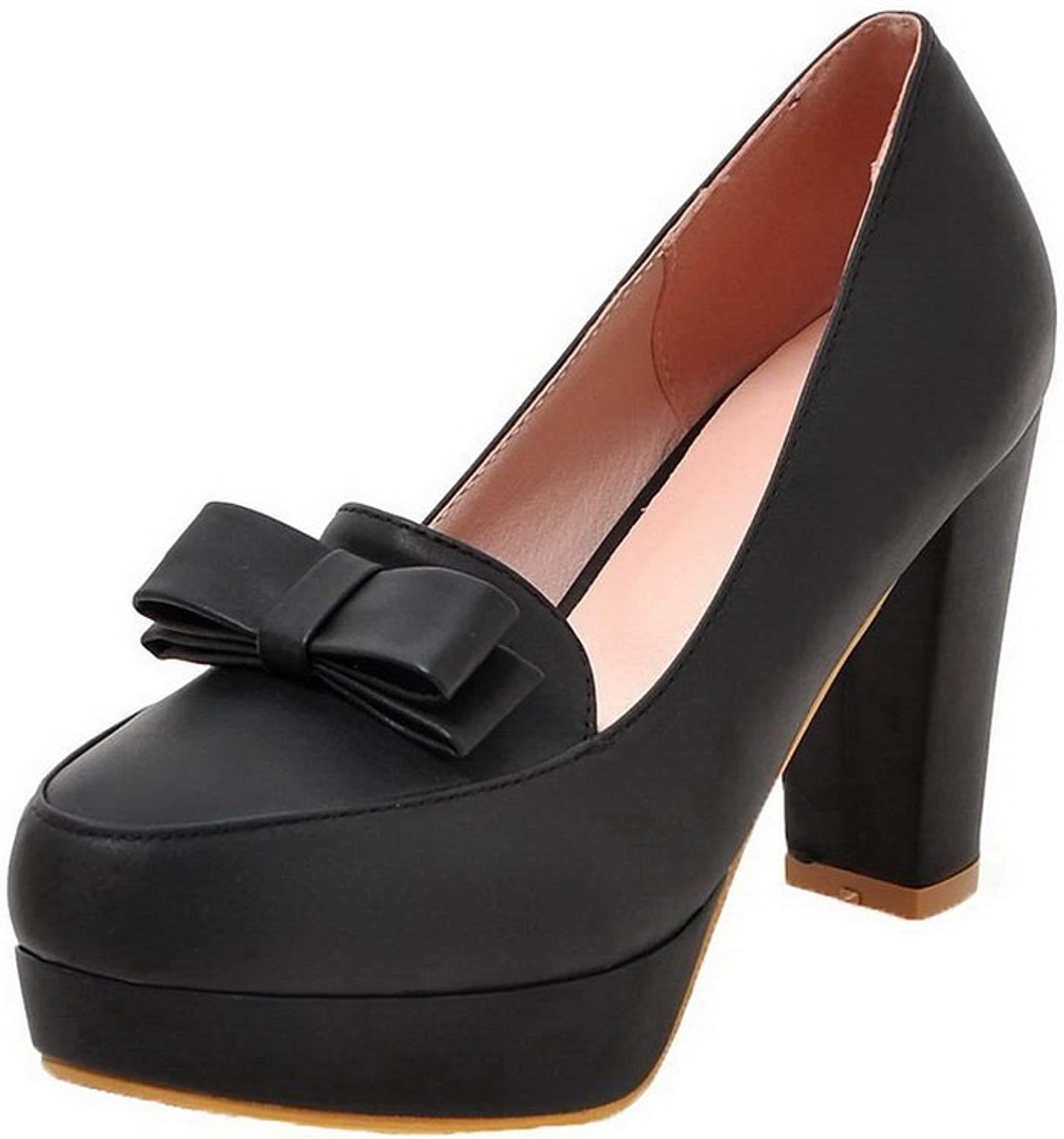 AmoonyFashion Women's Solid PU High-Heels Pull-On Closed-Toe Pumps-shoes