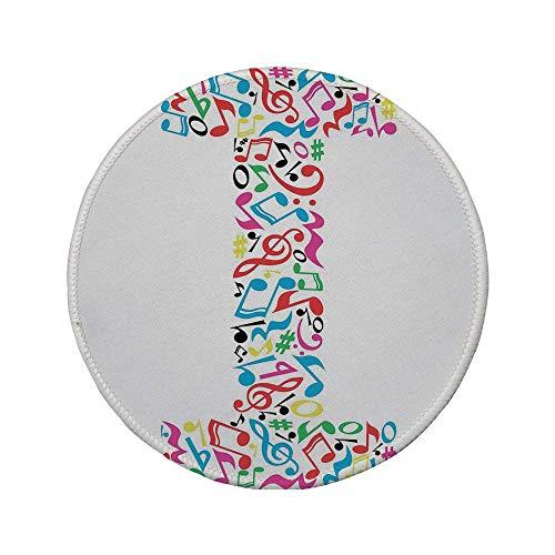 Rutschfreies Gummi-rundes Mauspad Buchstabe I Musikdesign-Hauptstadt I mit lebendiger Farbpalette Kunststil Major Minor Pattern Dekorativ mehrfarbig 7,87 'x 7,87' x 3 mm