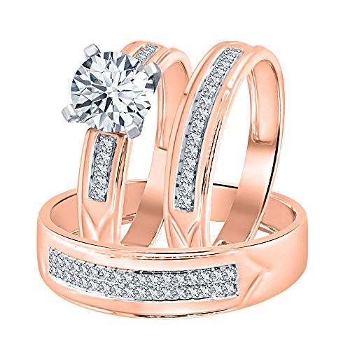 Solitaire Round Cut 1.88cttw White CZ Diamond 14k Rose Gold Over Sterling Silver Engagement Trio Ring Set for Him & Her