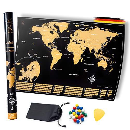 FOX Elements Weltkarte zum Rubbeln Hochglanz Schwarz Gold-Europa-Insel Edition | Deutsch | A1 85 x 60 cm | Groß Europa | Auch für Kinder | Plektrum Freirubbeln | Pinnen | Vintage Glänzend Poster