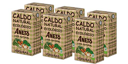 Aneto 100% Natural - Caldo de Verduras Ecológicas - caja de 6 unidades de 1 litro
