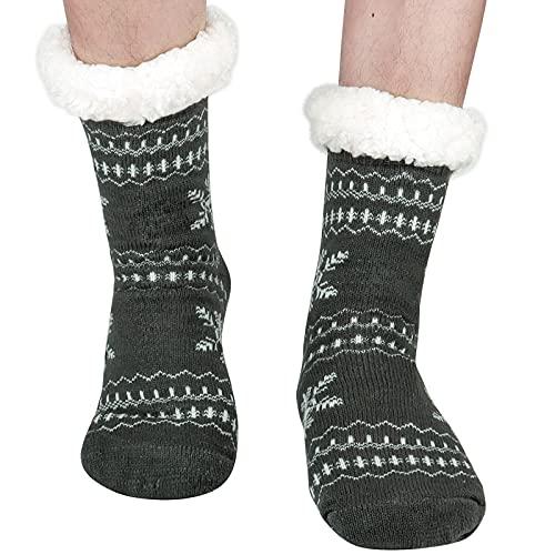 Merclix Calcetines para Casa, Calcetines Antideslizantes Hombre, Calcetines Polar, Calcetines Polares Hombre (Copo de nieve)