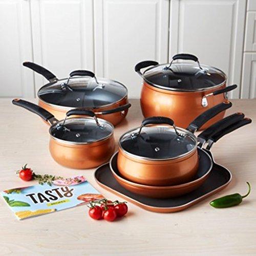 Tasty 11pc Cookware Set Non-Stick - Diamond Reinforced - PFOA Free, Copper
