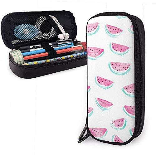 Federmäppchen Rosa Wassermelone Schnittmuster PU Leder Beutel Aufbewahrungsbeutel Tragbare Bleistiftbeutel Reißverschluss Geldbörsen