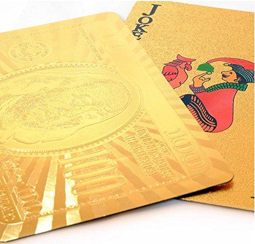 Ulooie Creative US DOLLAR Doré Jeu de cartes carat Or plaqué Jeu Poker Cadeau pour fête.