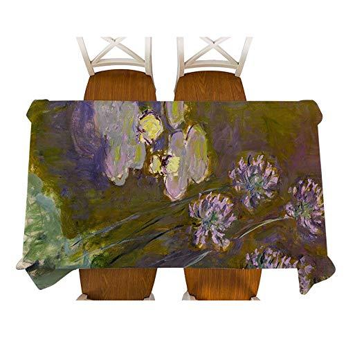 XXDD Monet-Jenny en el jardín Pintura Mantel de Lino Decorativo Impermeable Grueso Rectangular Cubierta de Mesa de Comedor Mantel de té A13 135x160cm
