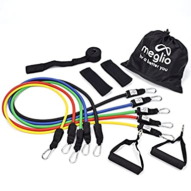 Meglio Resistance Bands Set - 5 Tubes with Handles - Premium Fitness Exercise Bands for Fitness Workouts Rehabilitation Yoga Pilates and Strength Training - Includes Exercise Guides