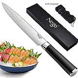 Nego Couteau à jambon 24,1 cm - Couteau parfait pour couper des sushis, des sashimi, Lame en acier inoxydable à haute teneur en...
