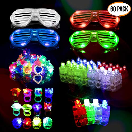 60 LED Dedos, Anillos Luces, Gafas Shutter Luz Juguetes - Neón Anillo Gafas Luminoso Juguete Creativo Y Para Fiestas Con Parpadeantes Regalos Para Cumpleaños Fiesta, Halloween niño Juguetes