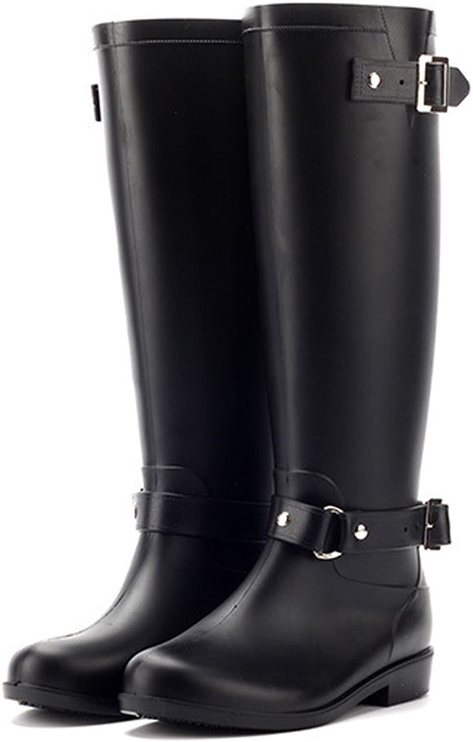 Freewent Women's Waterproof Buckle Closure Knee High Rain Boot
