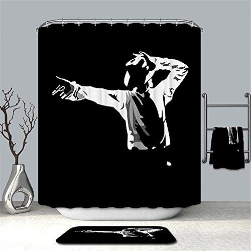 MIWANG Michael Jackson Flag Duschvorhang, Badezimmer wasserdichte Anti-Mehltau Gardinen Gardinen Blockieren Gardinen, Mit 12 Haken, W180 * H200cm, 100prozent Polyester-Produktion