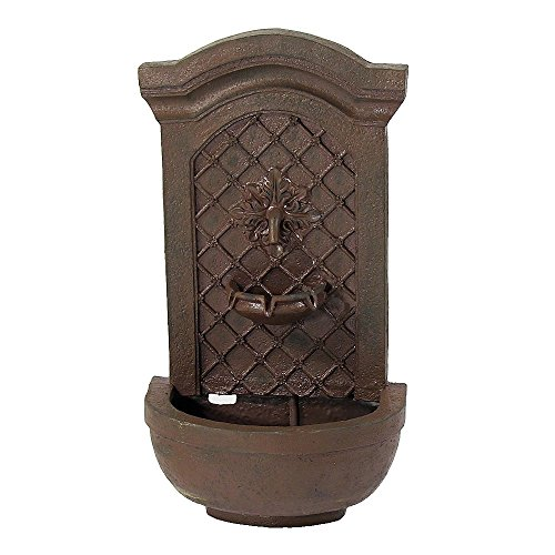 Sunnydaze Rosette Leaf Outdoor Wall Water Fountain - Waterfall Wall Mounted Fountain & Backyard Water Feature with Electric Submersible Pump - Iron Finish - 31 Inch