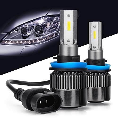 H11 LED Headlight Bulb, DOT Approved H11/H8/H9 LED Headlight Bulbs Conversion Kit, Single Beam Light Bulbs (High or Low), COB Chips-6000LM 6000K Xenon White (2 Pack)