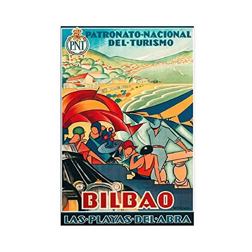 Bilbao Las Playas del Abra, póster vintage de viaje de España para decoración de pared, para sala de estar, dormitorio, decoración sin marco: 50 x 75 cm