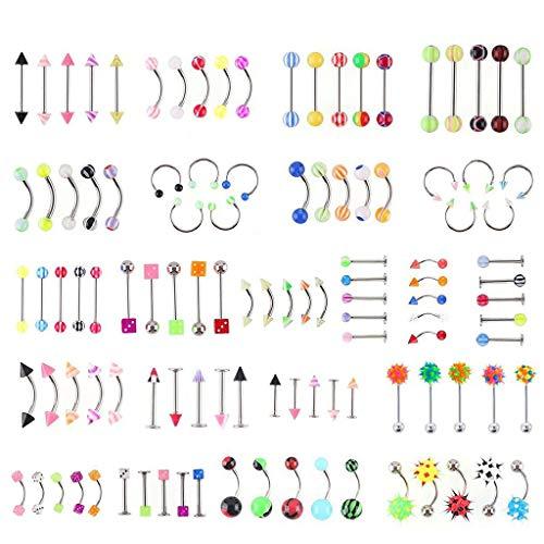 BE YOU TIFUL Piercing en el Ombligo, 110 Piezas Body Jewelry Piercing Ceja Ombligo Lengua del Vientre Anillo de Barra de Labios