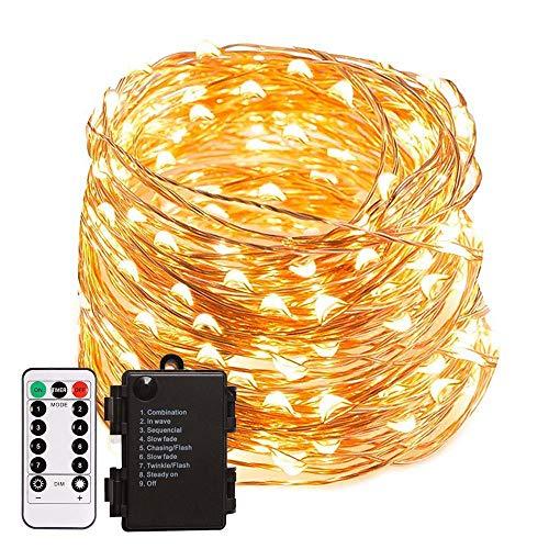 Guirnalda de Luces LED Decorativas 10 Metros 100 LEDs Blanco Cálido con Control Remoto (A Pilas) para Habitacion Exterior