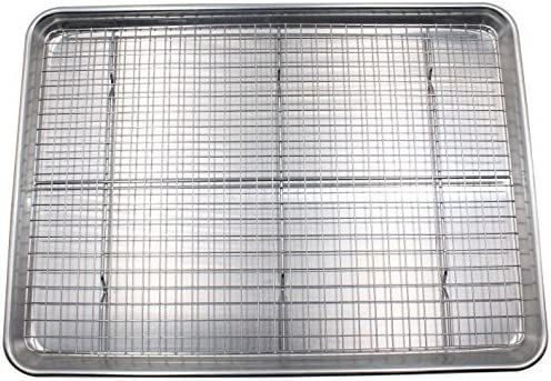 Checkered Chef Half Sheet Pan and Rack Set - Aluminium Cookie Sheet Baking Sheet Set with Stainless Steel Oven Safe C...