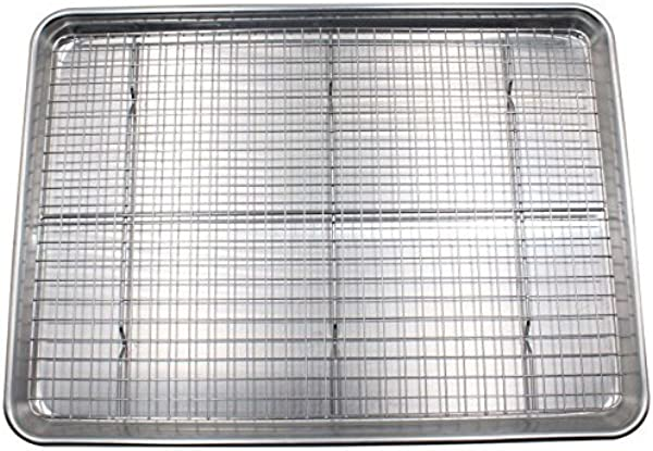 Checkered Chef Baking Sheet And Rack Set Aluminum Cookie Sheet Half Sheet Pan For Baking With Stainless Steel Oven Safe Cooling Rack