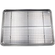 Checkered Chef Half Sheet Pan and Rack Set - Aluminum Cookie Sheet Baking Sheet Set with Stainless Steel Oven Safe Cooling Rack