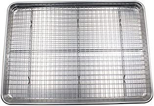Checkered Chef Half Sheet Pan and Rack Set - Aluminium Cookie Sheet Baking Sheet Set with Stainless Steel Oven Safe Coolin...
