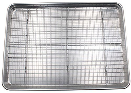 Checkered Chef Baking Sheet and Rack Set - Aluminum Cookie Sheet Tray / Half Sheet Pan for Baking with Stainless Steel Oven Safe Cooling Rack