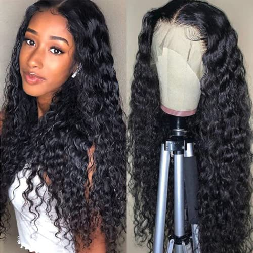 Uzoli Curly Wigs for Black Women 26 inch Deep Wave Lace Front Wigs Synthetic Hair, Water Wave Lace Closure Wig with Baby Hair Natural Looking Black