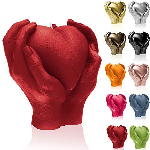 Candellana Kerze Herz Hand | Höhe: 16 cm | Rot | Brennzeit 35h | Kerzengröße gleicht 1:1 einer realen Hand | Handgemacht in der EU