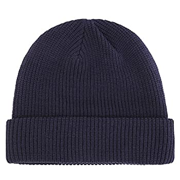 Connectyle Outdoor Classic Bassic Men s Warm Winter Hats Daily Thick Knit Cuff Beanie Cap Navy Blue ,Medium