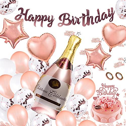 Herefun Globos Cumpleaños Decoracione, 28Pcs Feliz Decoración Fiesta Cumpleaños Oro Rosa, Cumpleaños Decor, Suministros de Fiesta con Adorno para Tarta, Papel de Aluminio Globo, Confeti, Pancarta