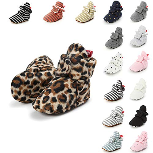 LUWU Unisex Baby Cozy Booties with Grippers Bottom Winter Warm Shoes, Black, 0-6 Months Infant