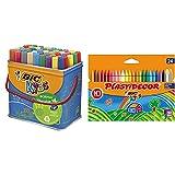 Bic Kids Rotuladores Lavables para Niños, Óptimo para material escolar,Visacolor XL + Kids Ceras de Colores para Niños, Óptimo para material escolar,Plastidecor