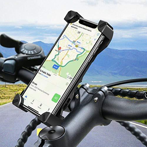 K-ONE 360 Grad Universal Motorrad Fahrrad MTB Fahrrad Lenkerhalterung Telefon Clip Standhalterung für 4-5,5 Zoll Smartphones GPS, Schwarz