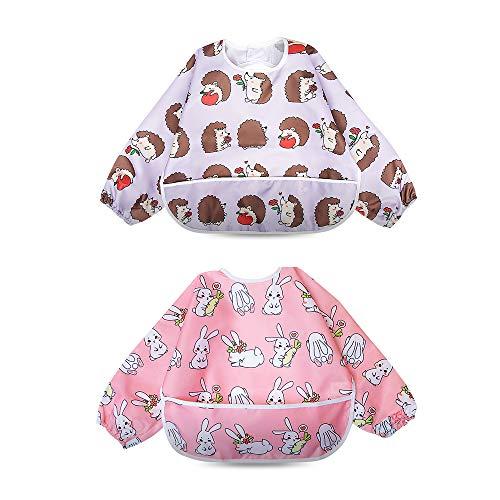 Babero Impremeable con mangas larga para bebé Manga Larga Resistente al agua Lavable Bebé Niños Alimentación Babero de Manga Larga (Pequeño conejo/pequeño erizo)
