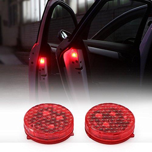 Youool Autotür-Warnleuchte, universelle wasserdichte kabellose Autotür-Warnleuchte LED Roter Blitz Autotür offen Sicherheitsflimmern Auto Ein/Aus Antikollisions-Warnleuchte (2Pack)